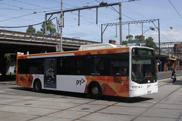 PTV liveried Transdev bus #400 rego 5900AO on route 216 at Market and Flinders Street