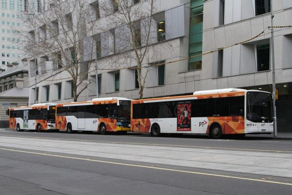 Trio of PTV-liveried Transdev buses parked between runs at William and Lonsdale Street