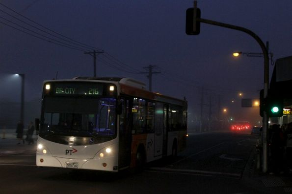 PTV-liveried Transdev bus #382 rego 5282AO departs Footscray station with a route 206 service