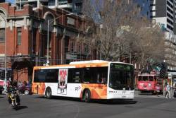 Transdev bus #425 rego 7825AO on route 216 turns from Lonsdale into Spencer Street