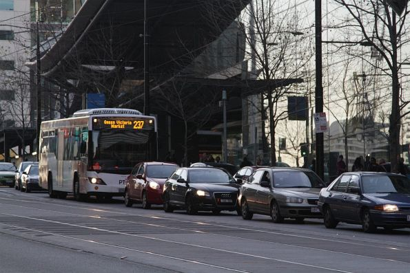 Transdev bus on route 237 stuck in traffic on Collins Street outside Southern Cross Station