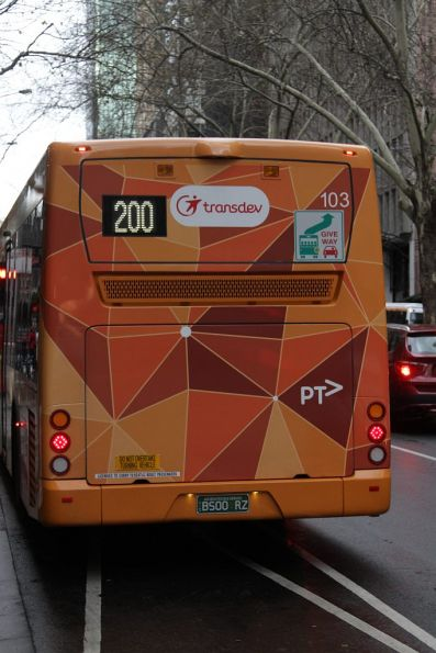 Transdev bus #103 rego BS00RZ heads north on Queen Street with a route 200 service