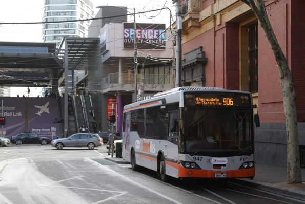 Driver of Transdev bus #947 rego 7869AO on a meal break at the corner of Bourke and Spencer Street