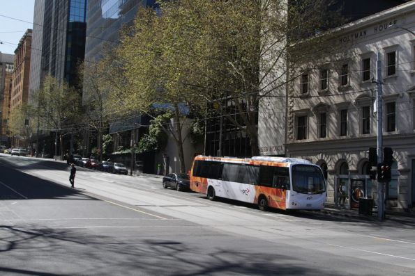 Transdev bus #607 rego 7230AO at the corner of Market and Flinders Street