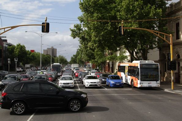 Transdev buses stuck in Hoddle Street traffic at the corner of Victoria Parade