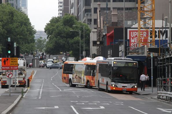 Transdev #958 rego 8038AO turns around at the west end of Lonsdale Street