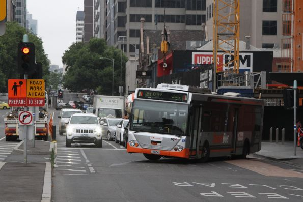 Transdev #731 rego 1731AO turns around at the west end of Lonsdale Street
