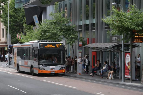 Transdev #960 rego 8045AO on route 907 at Lonsdale and Swanston Street