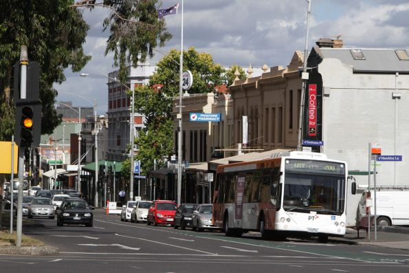 Transdev bus #756 rego 1756AO on a route 200 service at Elgin and Lygon Street