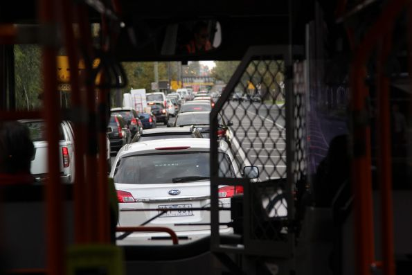 Transdev bus on route 219 stuck in traffic on Dynon Road