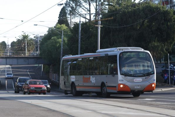 Transdev bus #639 7262AO on a route 903 service arrives at Essendon station