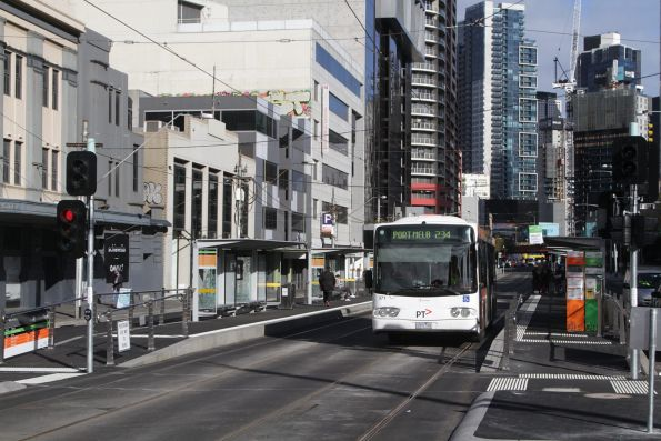 Transdev #371 rego 0371AO on a route 234 service at the combined tram and bus platform stop on Queensbridge Street