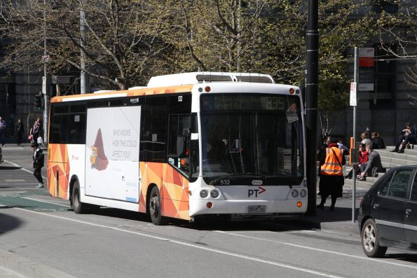 Transdev bus #532 rego 5828AO on a route 235 service outside Southern Cross Station