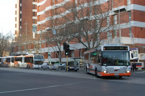 Transdev bus #734 1734AO turns from Gisborne Street into Albert Street on a route 905 service