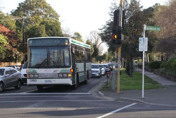 Transdev bus #5160 rego 5160AO on a route 150 school bus at Barkers Road