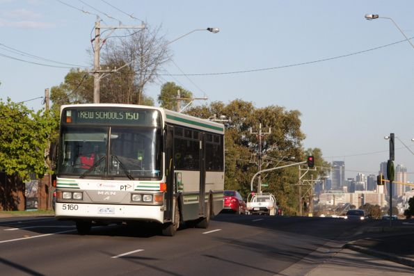 Transdev bus #5160 rego 5160AO on a route 150 school bus along Barkers Road