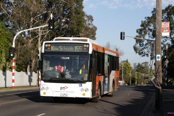 Transdev bus #910 rego 6130AO on a route 155 school bus along Barkers Road