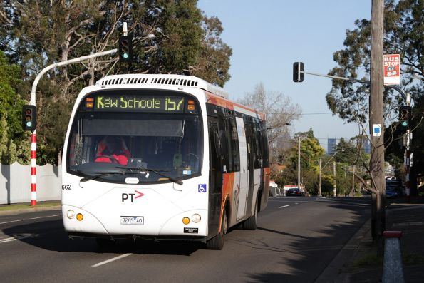 Transdev bus #662 rego 7285AO on a route 157 school bus along Barkers Road