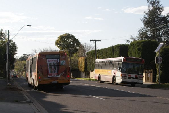 Transdev buses #662 rego 7285AO and #32 rego 4632AO cross paths on Barkers Road, Kew