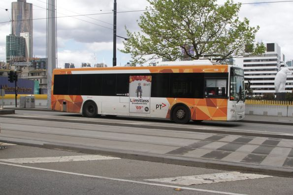 Transdev bus #108 on a route 232 service along Collins Street