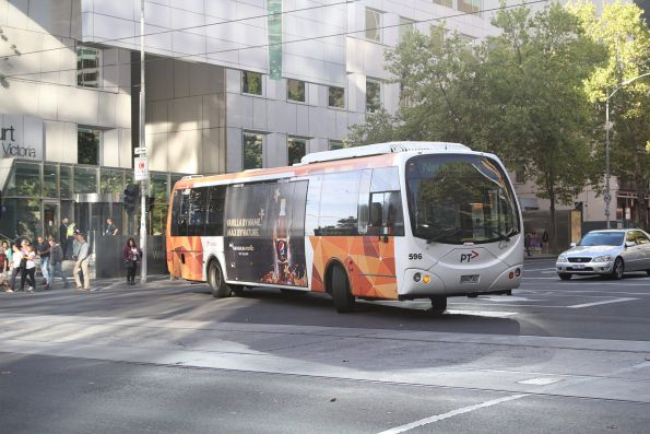 Transdev #596 6860AO turns from William Street into Lonsdale