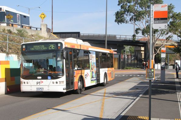 Transdev #399 5299AO on a route 216 service at Sunshine station