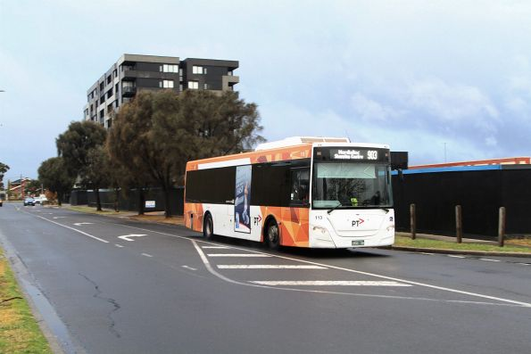 Transdev #113 BS01GR on a route 903 service heads north on Foundry Road at Sunshine