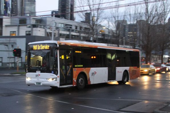 Transdev bus #801 BS01LO between runs on Peel Street, West Melbourne