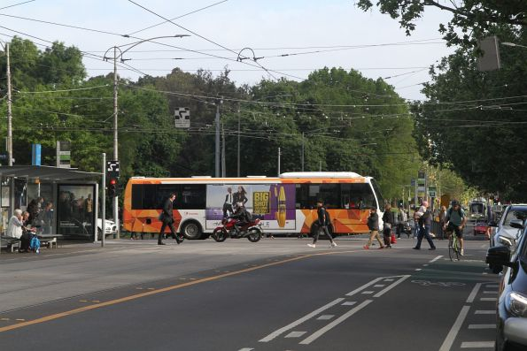 Transdev bus #629 heads east at La Trobe and William Street