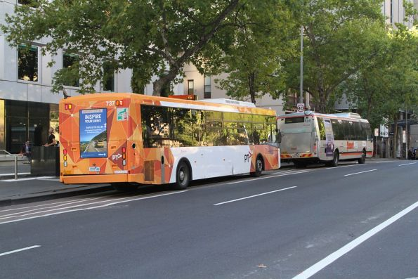 Transdev buses #737 1737AO and #658 7281AO head east at Lonsdale and William Street
