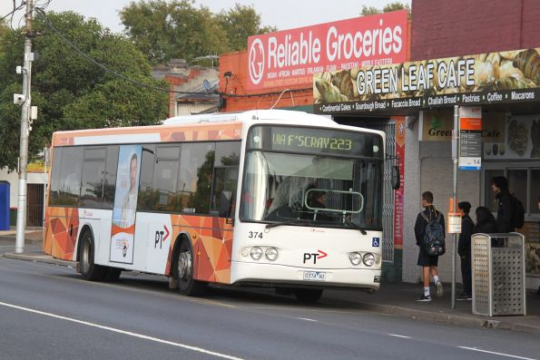 Transdev bus #374 0374AO on route 223 at Footscray station