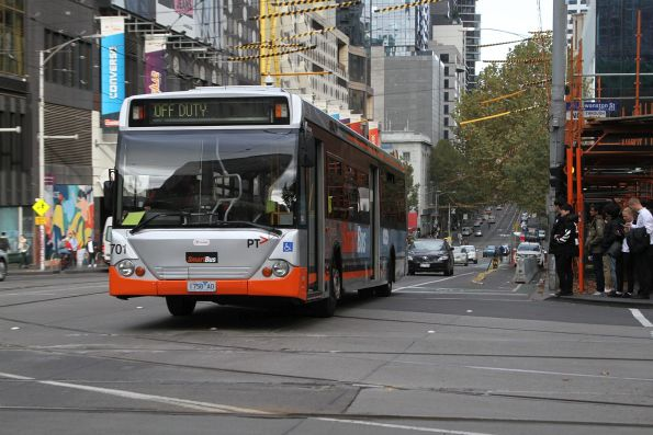 Transdev bus #701 1758AO out of service at La Trobe and Swanston Street