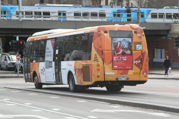 Transdev Melbourne bus #600 6864AO out of service crossing Queens Bridge
