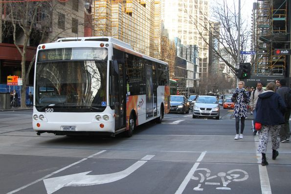 Transdev bus #560 6092AO heads east on route 232 at Collins and William Street