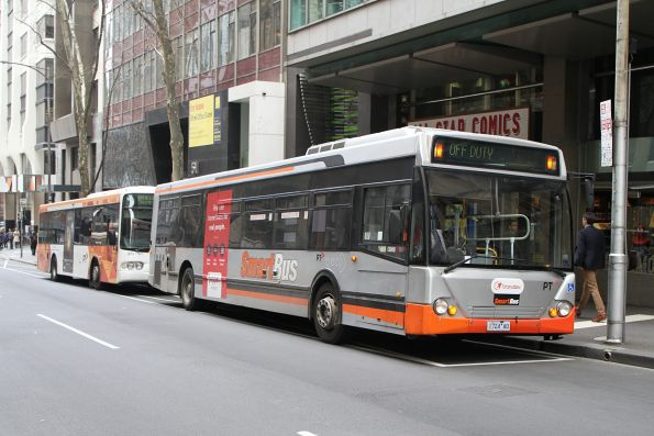 Smartbus liveried Transdev bus 1724AO 'off duty' at Queen and Collins Street