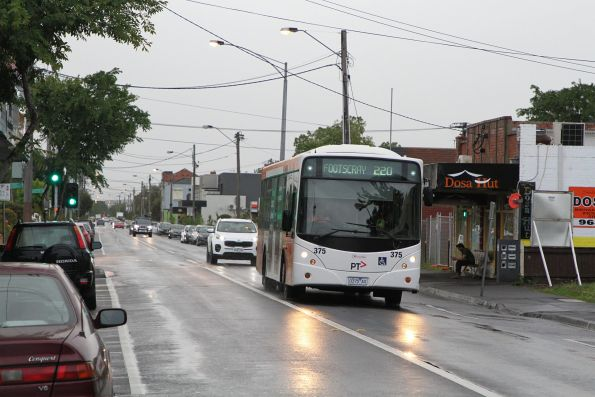 Transdev bus #375 0375AO on a route 220 service along Barkly Street, West Footscray