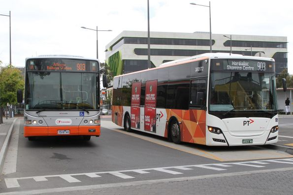 Transdev buses #8296 7528AO and #172 BS03WG on route 903 at Sunshine station