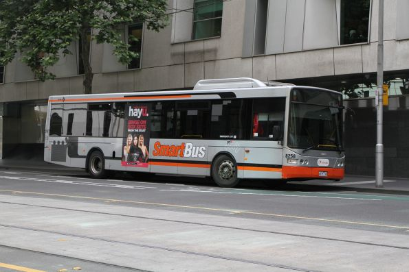 Transdev bus #8258 6675AO between runs at William and Lonsdale Street