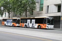 Transdev buses #545 5841AO and #172 BS03WG out of service at William and Lonsdale Street