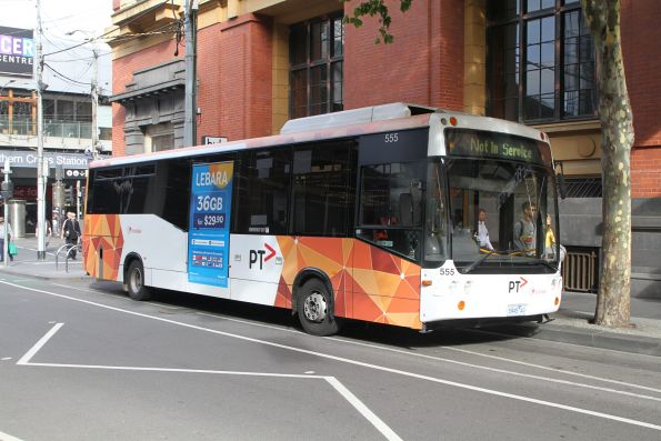 Transdev bus #555 5945AO between runs at Bourke and Spencer Street