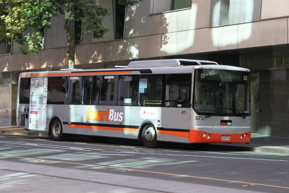 Transdev bus #573 6338AO between runs at William and Lonsdale Street