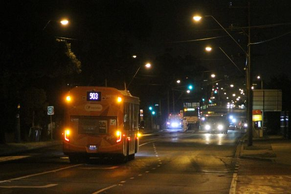 Wednesday, 16 January - Transdev bus #168 BS03KR on route 903 heads past roadwork on Wright Street, Sunshine