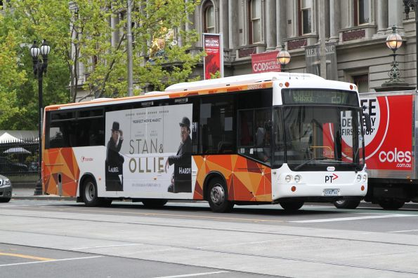 Transdev bus #523 0183AO out of service at William and Little Lonsdale Street