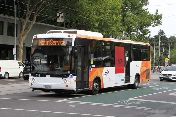 Transdev Melbourne bus #535 5831AO out of service at William and Little Lonsdale Street