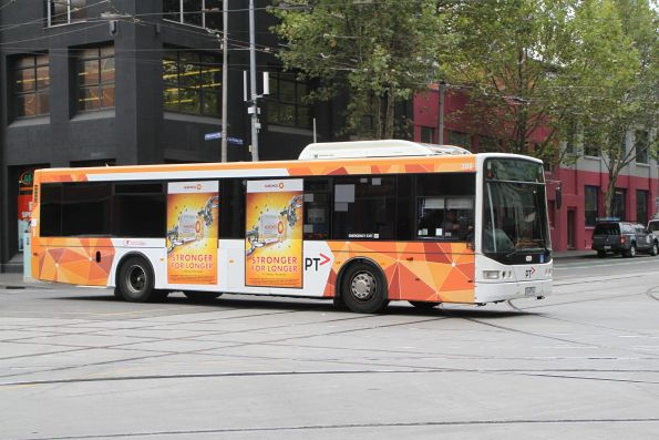 Transdev bus #399 heads south on route 216 at Spencer and La Trobe Street
