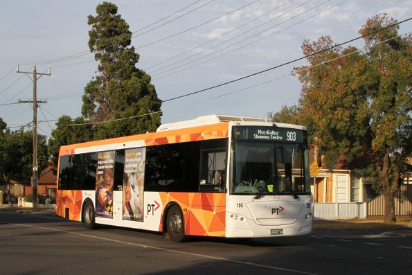 Transdev bus #105 BS00SW on route 903 along Hampshire Road, Sunshine