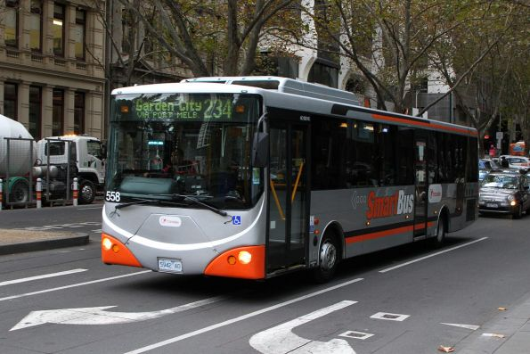 Smartbus liveried Transdev bus #558 5942AO on route 234 at Queen and Flinders Street