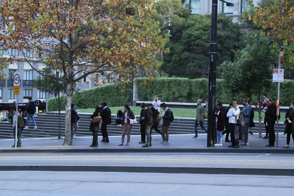 Passengers for Fishermans Bend waiting outside Southern Cross Station