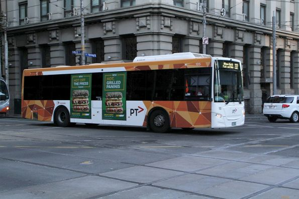Transdev bus #105 on route 232 at Collins and Spencer Street