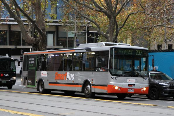 Smartbus liveried Transdev bus #563 6342AO on route 237 at Collins and King Street